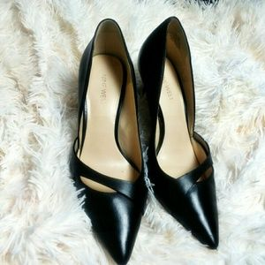 Nine West Black Kimery Vamp Strap Heels